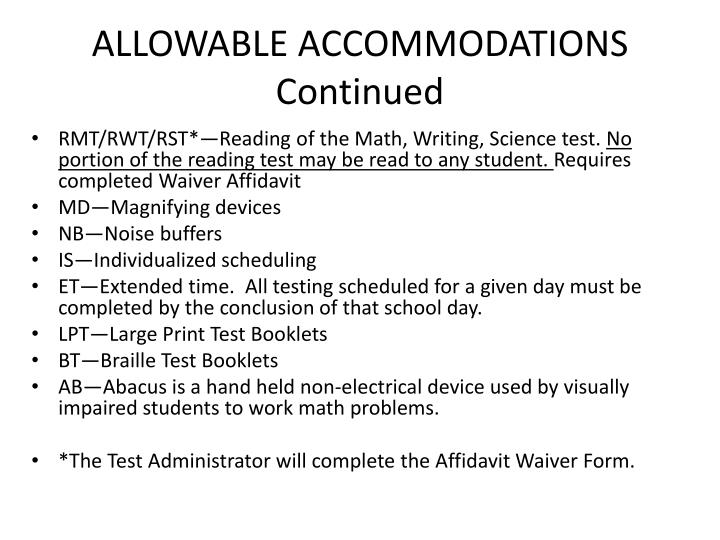ALLOWABLE ACCOMMODATIONS
