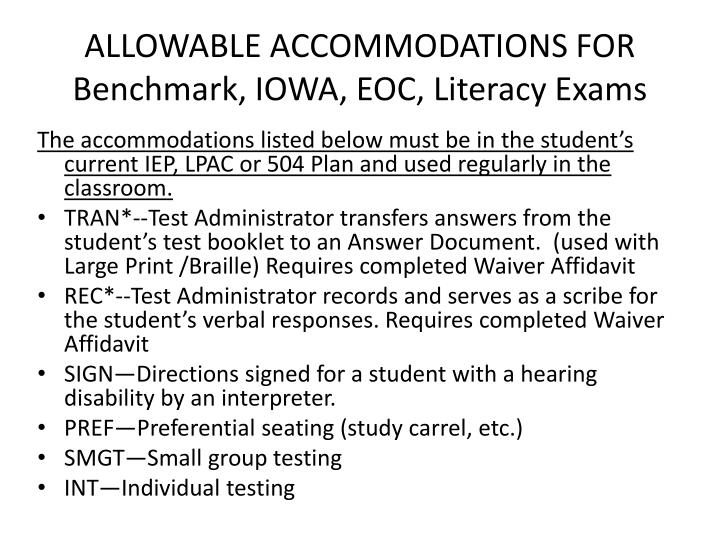ALLOWABLE ACCOMMODATIONS FOR