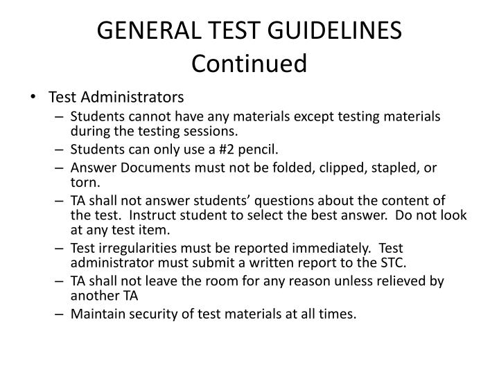 GENERAL TEST GUIDELINES