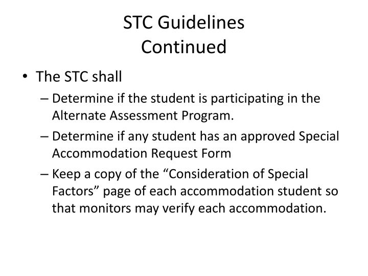 STC Guidelines