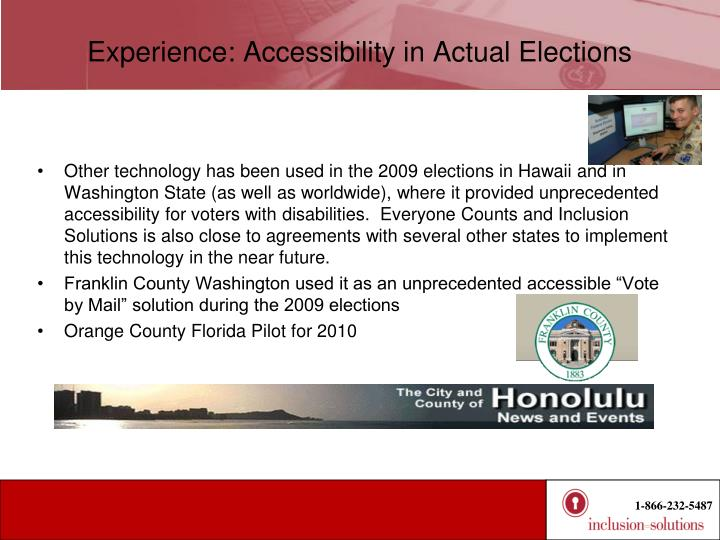 Experience: Accessibility in Actual Elections