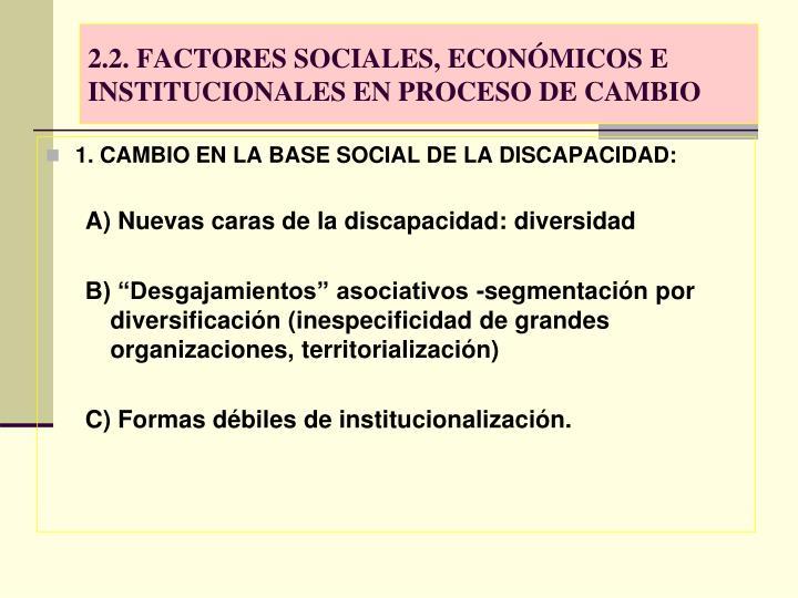 2.2. FACTORES SOCIALES, ECONÓMICOS E INSTITUCIONALES EN PROCESO DE CAMBIO