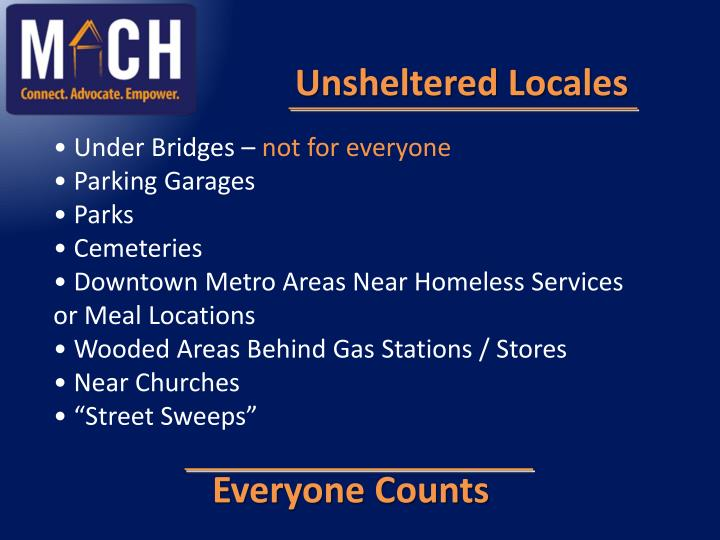 Unsheltered Locales
