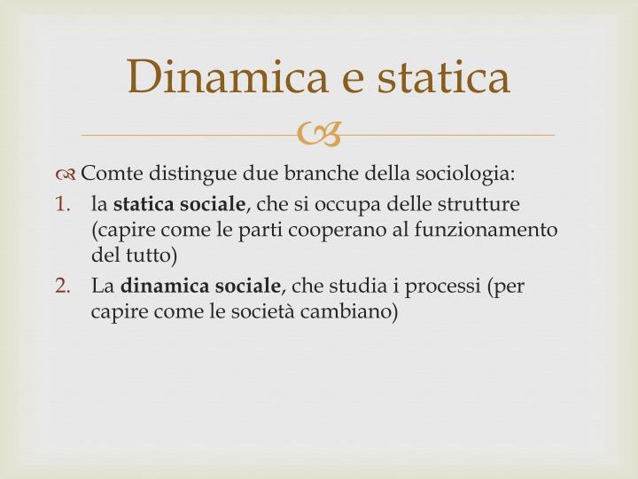 Dinamica e statica