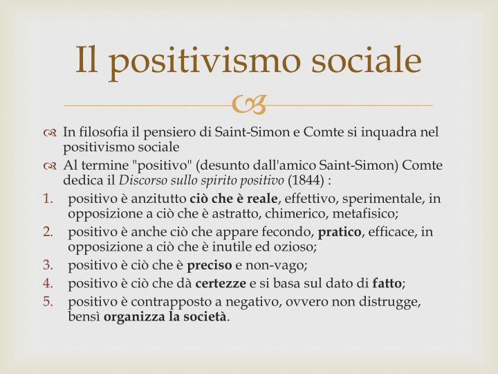 Il positivismo sociale