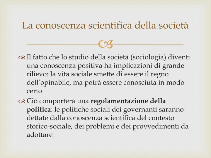 La conoscenza scientifica della società