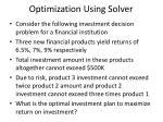 optimization using solver