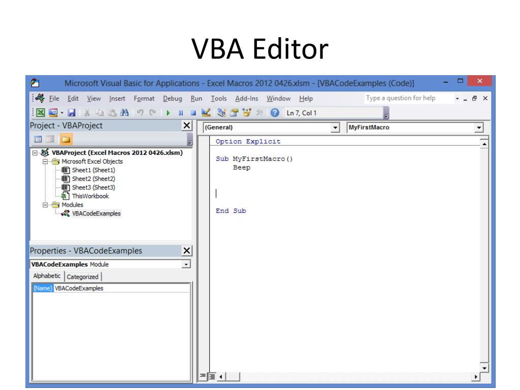 PPT - Excel Macro VBA Overview PowerPoint Presentation - ID