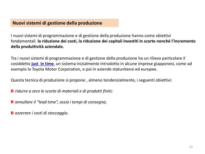 Nuovi sistemi di gestione della produzione