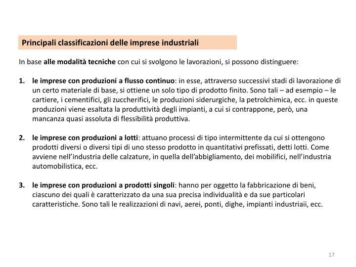 Principali classificazioni delle imprese industriali