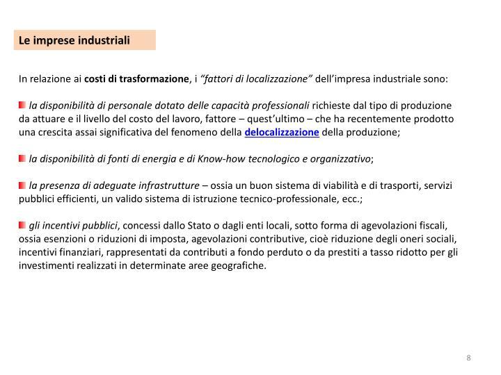 Le imprese industriali
