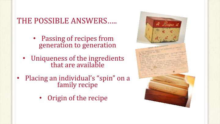 THE POSSIBLE ANSWERS…..
