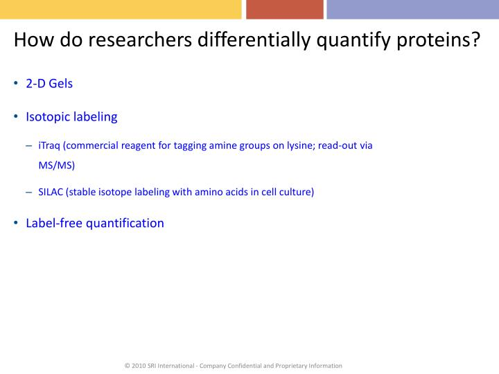 How do researchers differentially quantify proteins?
