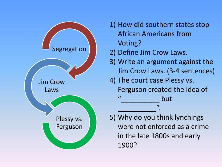 "how did african americans respond to jim crow laws African american response to jim crow how did african americans respond to discrimination and ""jim ""jim crow"" laws institutionalized a system of legal."