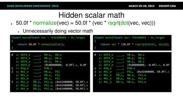 Hidden scalar math