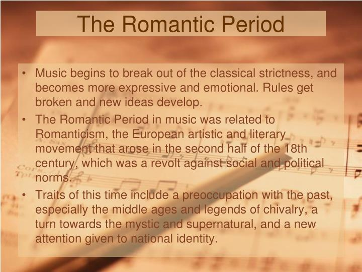 unit 7 the romantic period In this lesson, students use art and poetry to explore and understand major characteristics of the romantic period first, students are introduced to the historical, societal, and literary characteristics of the romantic period.
