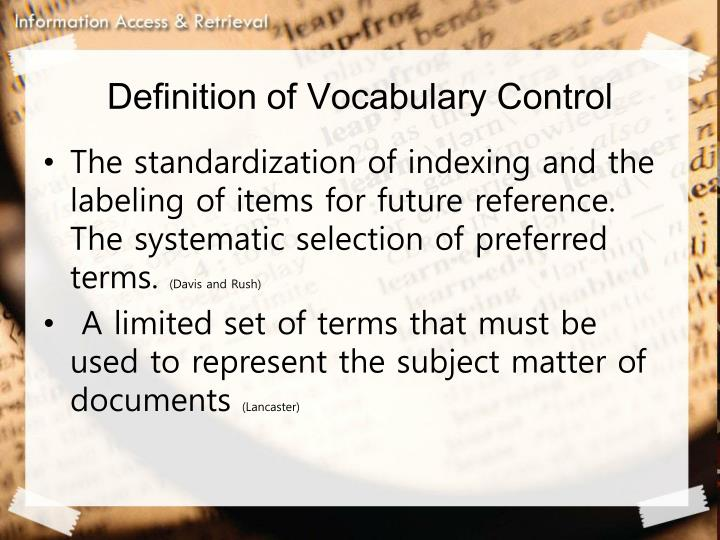 Definition of Vocabulary Control