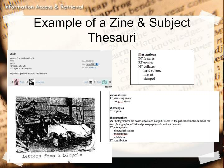 Example of a Zine & Subject Thesauri