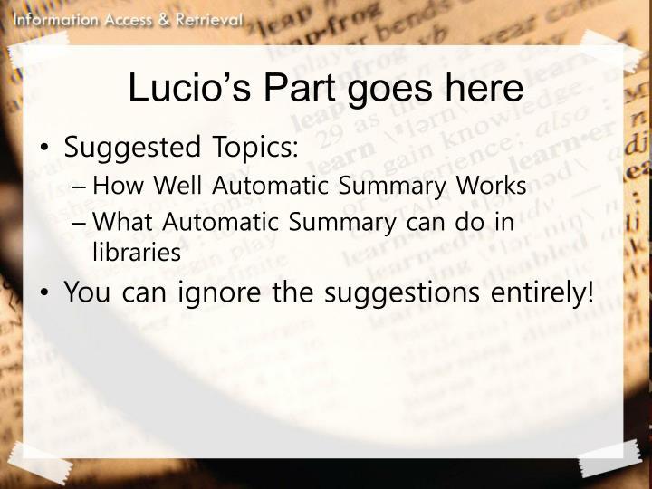 Lucio's