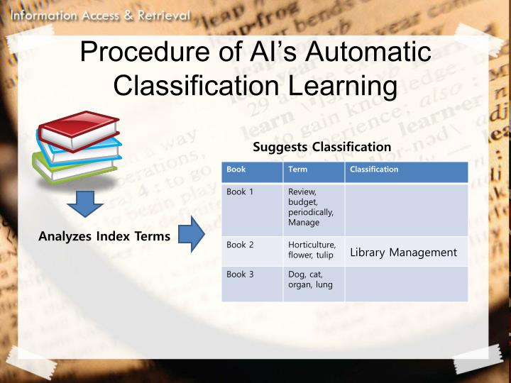 Procedure of AI's Automatic Classification Learning