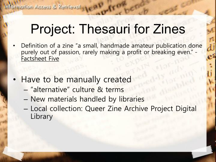 Project: Thesauri for Zines