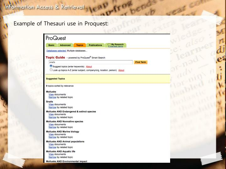 Example of Thesauri use in Proquest: