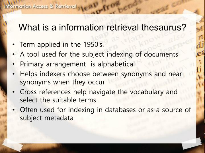 What is a information retrieval thesaurus?