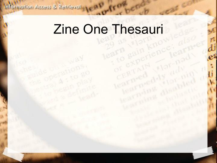 Zine One Thesauri