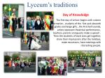 lyceum s traditions