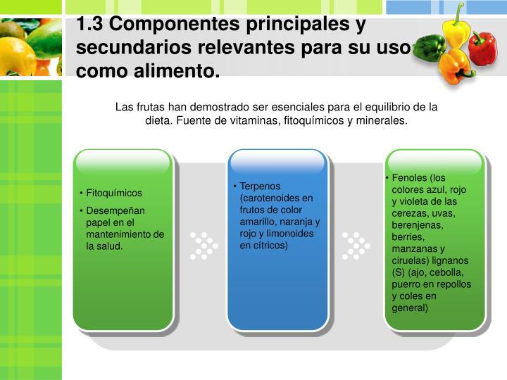1.3 Componentes principales y secundarios relevantes para su uso como alimento.