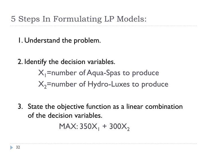 5 Steps In Formulating LP Models: