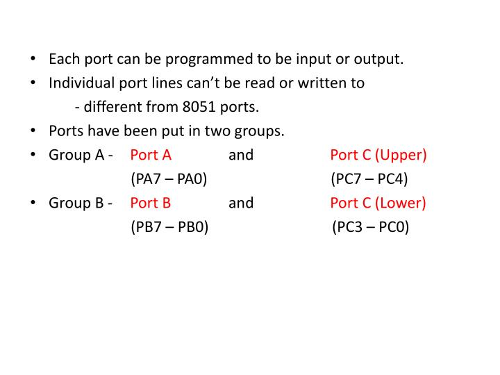 Each port can be programmed to be input or output.