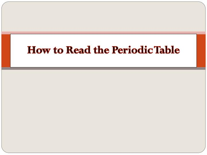 Ppt How To Read The Periodic Table Powerpoint Presentation Id
