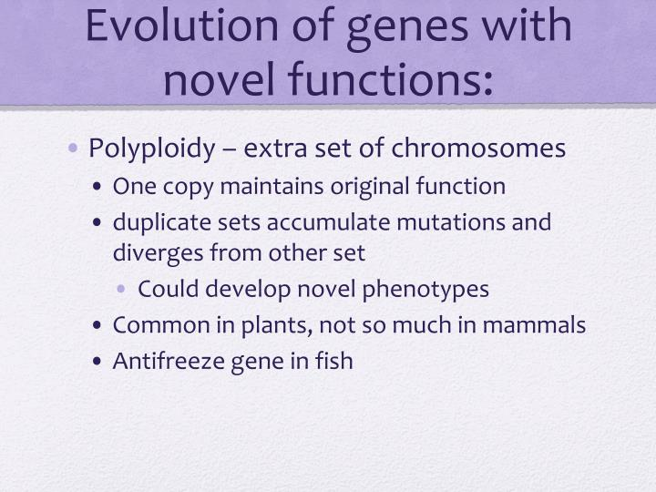 Evolution of genes with novel functions: