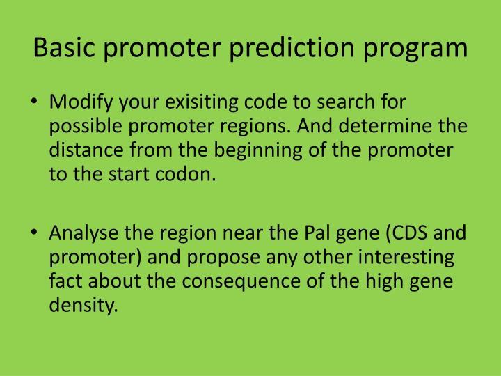 Basic promoter prediction program