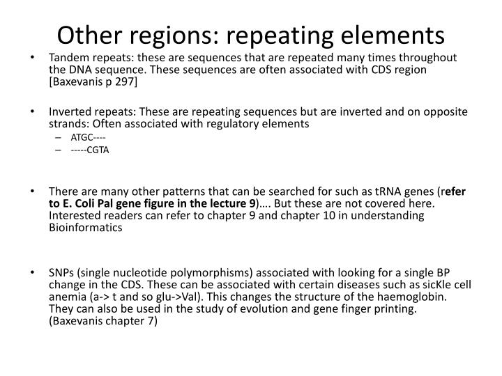 Other regions: repeating elements