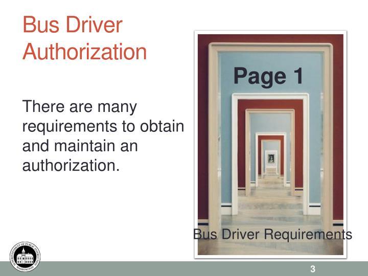 Bus driver authorization