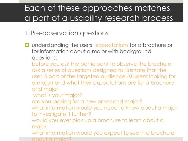 Each of these approaches matches a part of a usability research process