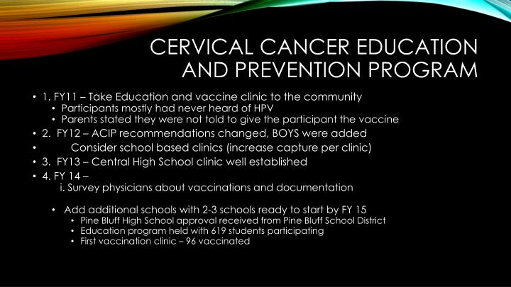 Cervical Cancer Education And Prevention Program