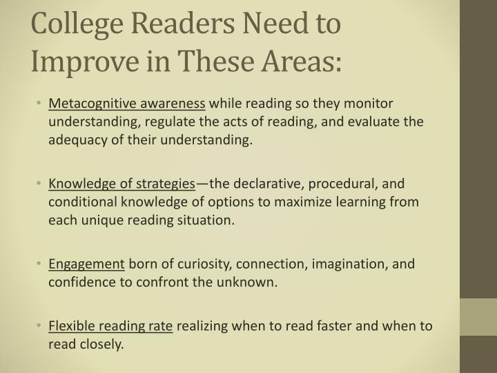 College Readers Need to Improve in These