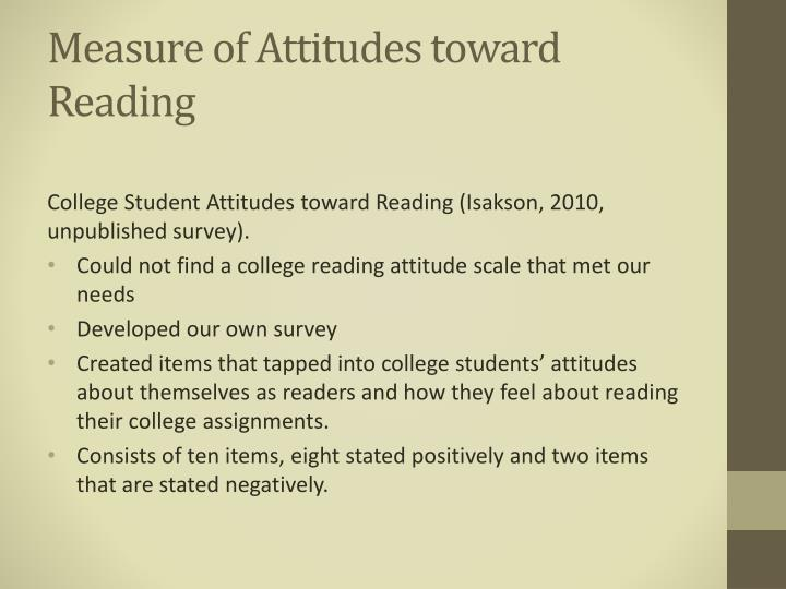 Measure of Attitudes toward Reading