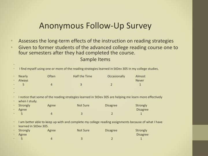 Anonymous Follow-Up Survey