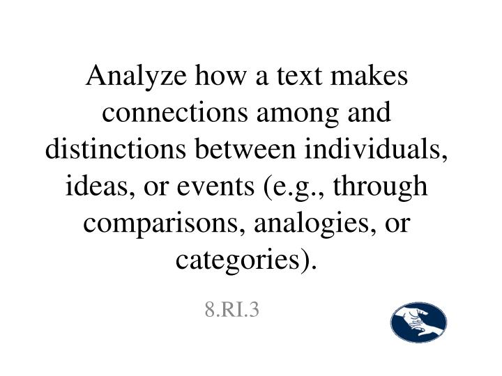 Analyze how a text makes connections among and distinctions between individuals, ideas, or events (e.g., through comparisons, analogies, or categories).