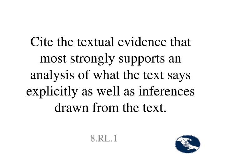 Cite the textual evidence that most strongly supports an analysis of what the text says explicitly as well as inferences drawn from the text.