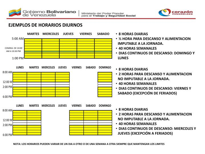 EJEMPLOS DE HORARIOS DIURNOS