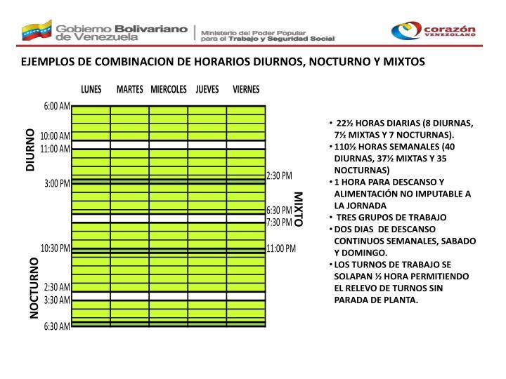 EJEMPLOS DE COMBINACION DE HORARIOS DIURNOS, NOCTURNO Y MIXTOS