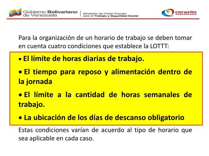 Para la organización de un horario de trabajo se deben tomar en cuenta cuatro condiciones que establece la LOTTT