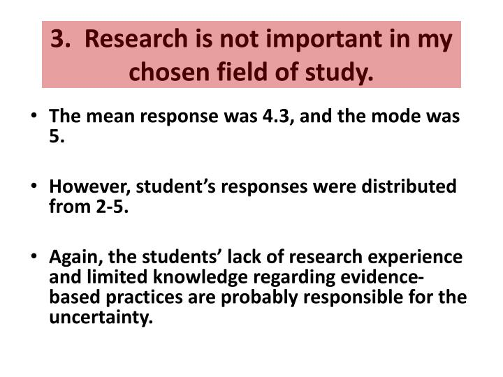 3.  Research is not important in my chosen field of study.
