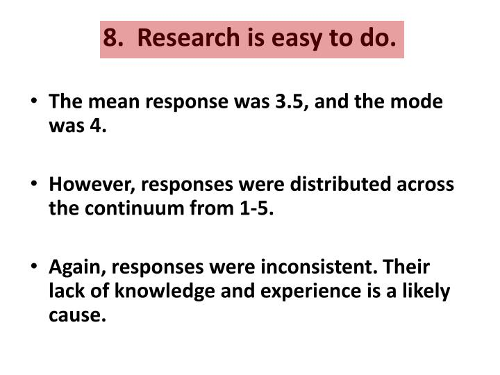 8.  Research is easy to do.