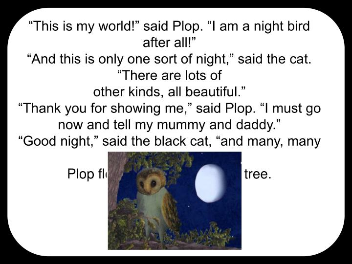 """This is my world!"" said Plop. ""I am a night bird"